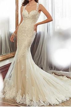 Robe de mariée Sirène Sans taille Mince Ruché Longue Sans Manches