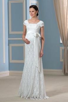 Robe de mariée Empire Mancheron Tissu Dentelle Zip De plein air