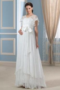 Robe de mariée Ample & Ornée Traîne Courte Romantique Manche Courte