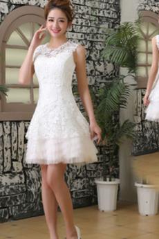 Robe de mariée Rivage Mi-longues A-ligne Couvert de Dentelle Col ras du Cou