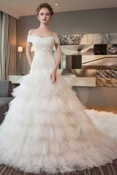 Robe de mariée Tulle Manche Courte Traîne Royal A-ligne Multi Couche