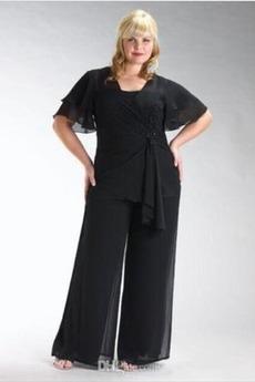 Robe de mère pantalon de costume Longueur Cheville Manche Courte