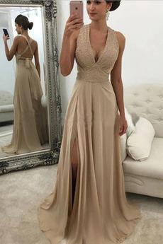 Robe de Bal Dos nu Luxueux Naturel taille Fourreau Avec Bijoux