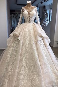 Robe de mariée Manche Longue Naturel taille Traîne Longue A-ligne