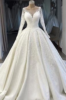 Robe de mariée Manche Longue Couvert de Dentelle Naturel taille Formelle