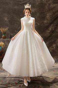 Robe de mariée Naturel taille Appliques Zip Longueur Cheville Automne