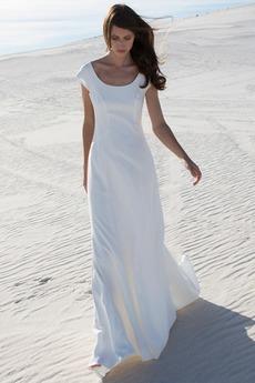 Robe de mariée a ligne Mancheron Sans taille Col U Profond Été