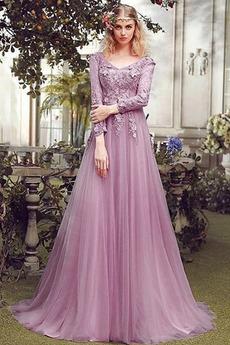 Robe de Bal Dos nu Tulle Traîne Courte Fleurs Couvert de Tulle