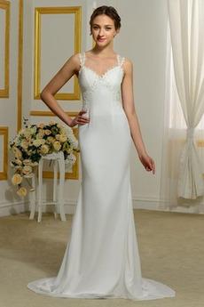 Robe de mariée Printemps Perle Larges Bretelles Jardin Gaze Taille chute