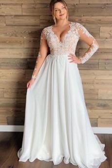 Robe de mariée Simple Tissu Dentelle Manche Longue Été aligne Naturel taille