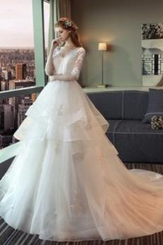 Robe de mariée Dos nu Naturel taille Manche de T-shirt aligne
