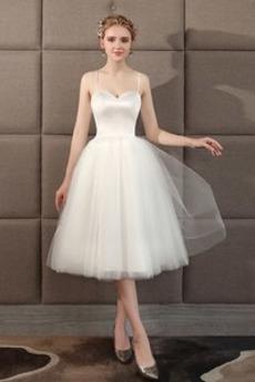 Robe de mariée Soie Longueur Genou Naturel taille Gradins Plage