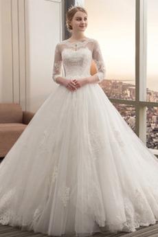 Robe de mariée Traîne Royal Cérémonial Couvert de Dentelle Col Bateau