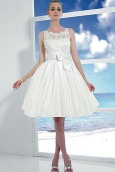 Robe de mariée Sans Manches Satin Blanc Jardin Col de chemise t
