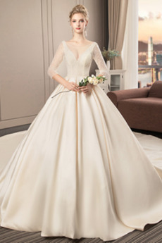 Robe de mariée Satin Lacet A-ligne Appliques Sage Col en V