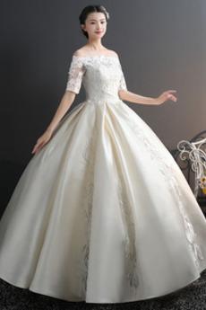 Robe de mariée Chaussez Satin Épaule Dégagée a ligne Appliques