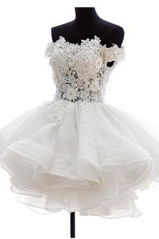 Robe de mariée Zip Bouton Épaule Dégagée Été De plein air Courte