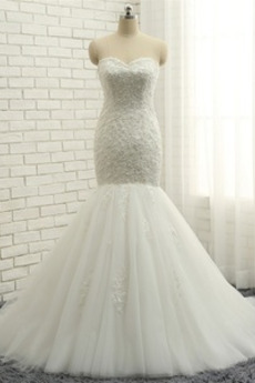 Robe de mariée Bustier Luxueux Naturel taille Tissu Dentelle Longue