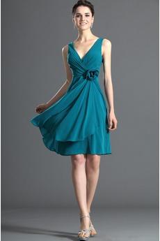 Robe Demoiselle d'Honneur Sans Manches Turquoise Simple Rivage