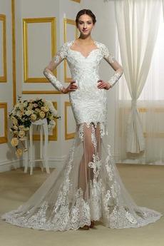 Robe de mariée Longue Zip Appliquer Plage Tissu Dentelle Naturel taille