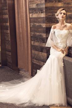 Robe de mariée Dos nu Au Drapée Manche Lâche Épaule Dégagée 1/2 Manche