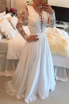 Robe de mariée Hiver Naturel taille Col en V Perle Médium Tissu Dentelle