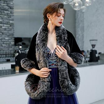 Manteau de mariage robe de mariée hiver châle imitation fourrure chaude châle - Page 3