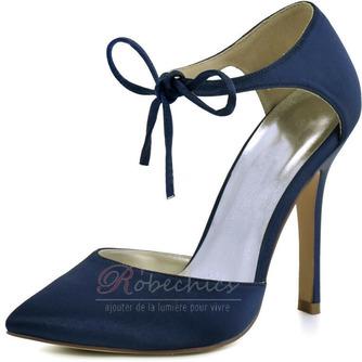 Chaussures de mariage en satin aiguille Chaussures de mariage de grande taille Robe de banquet Chaussures simples - Page 3