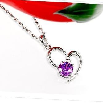 Femmes violettes en forme de coeur cristal Collier & pendentif argent - Page 3