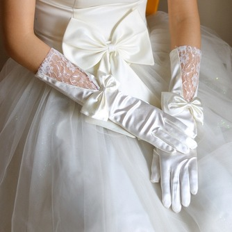 Gants de mariage Salle Automne Glamour Tissu Dentelle Nœud à Boucles - Page 1
