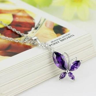 Mode pour diamant incrusté pourpre insecte en argent Collier pendentif - Page 1