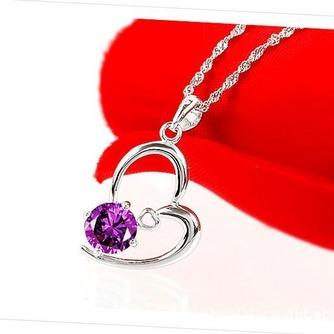 Femmes violettes en forme de coeur cristal Collier & pendentif argent - Page 2