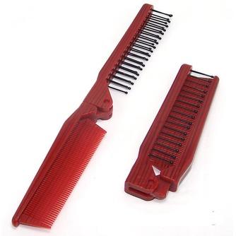 Grain de bois rouge pliante multifonction Portable petit miroir & peigne - Page 1