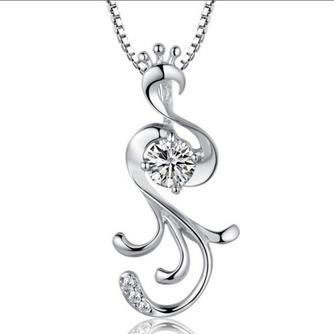 Diamant incrusté argent femmes paon de Fashion Collier pendentif - Page 1