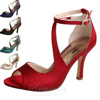 Bout ouvert bouche de poisson talons hauts chaussures de mariée mariage sandales de bal en satin - Page 4