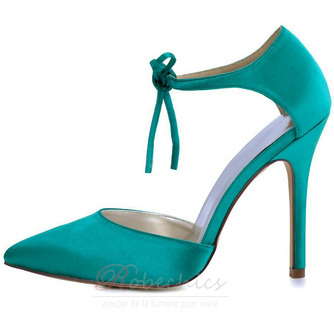 Chaussures de mariage en satin aiguille Chaussures de mariage de grande taille Robe de banquet Chaussures simples - Page 1
