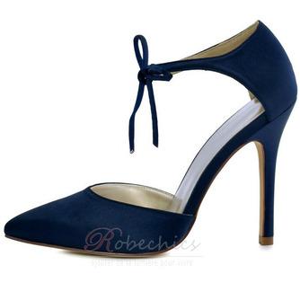 Chaussures de mariage en satin aiguille Chaussures de mariage de grande taille Robe de banquet Chaussures simples - Page 4