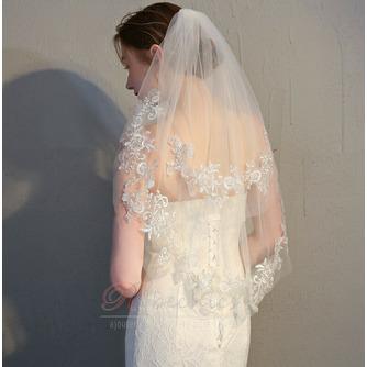 Mariée courte voile avec peigne voile délicat dentelle dentelle voile accessoires de mariage - Page 1