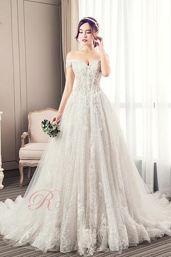 Robe de mariée Longue Perle Elégant Épaule Dégagée Chaussez A-ligne - Page 1