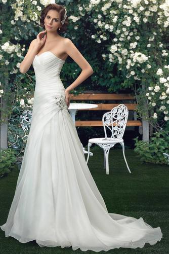 Robe de mariée Sommaire Rivage Sans Manches aligne col coeur Traîne Mi-longue - Page 1