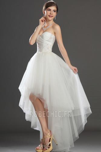Robe de mariée Asymétrique Taffetas Zip col coeur Appliques Blanche - Page 4