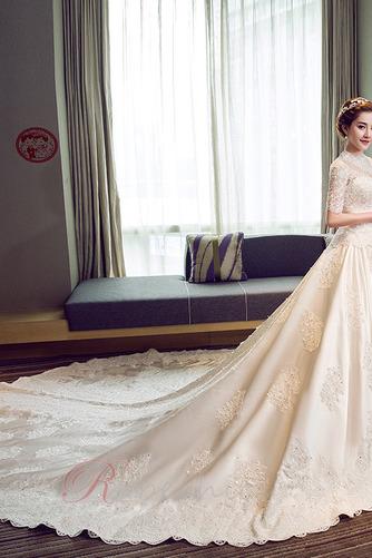 Robe de mariée Broderie A-ligne Naturel taille Satin Salle Lacet - Page 1