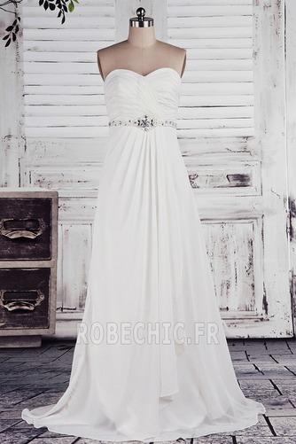 Robe de mariée taille haut Col en Cœur Cristal noble Sans Manches - Page 1
