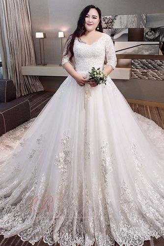 Robe de mariée Satin Plus la taille Froid Longue aligne Eglise - Page 1