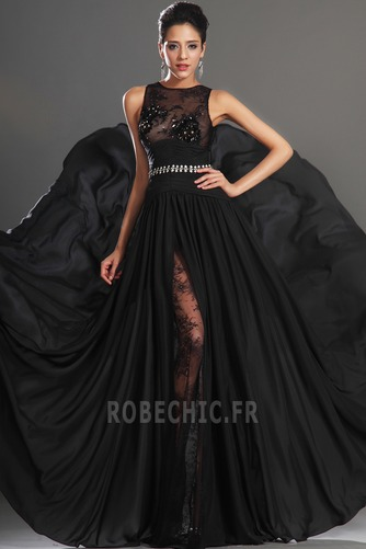 Robe de Bal Thigh-High Slit Glamour Chiffon Sans Manches Ouverture Frontale - Page 3