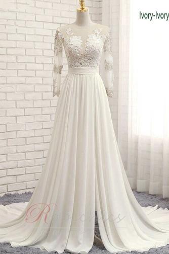 Robe de mariée Gaze Luxueux Col ras du Cou Couvert de Dentelle - Page 1