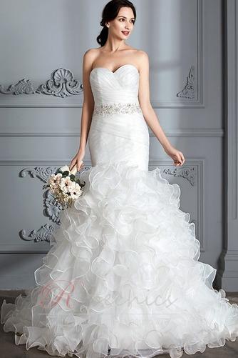 Robe de mariée Traîne Courte Lacet Col en Cœur Perle Sirène Chapelle - Page 3