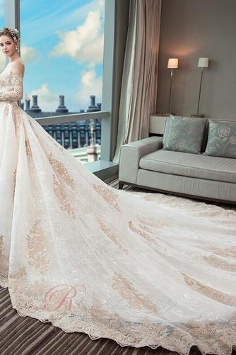 Robe de mariée Couvert de Dentelle Soie Formelle Long A-ligne - Page 4