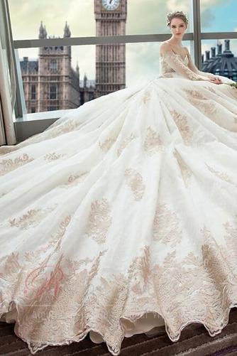 Robe de mariée Couvert de Dentelle Soie Formelle Long A-ligne - Page 3