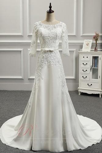 Robe de mariée Appliquer Couvert de Dentelle Longue Naturel taille - Page 1
